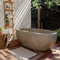 Native Trails, Inc. Avalon Freestanding Soaking Bathtub Color: Ash, Size: H x W x L Concrete Bathtub, Outdoor Bathtub, Bathtub Decor, Outdoor Bathrooms, Dream Bathrooms, Stone Bathtub, Bathtub Ideas, Master Bathrooms, Bathtub Designs