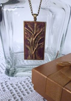 Leather Pendant Abstract Tree Painting in gift box by AnnaKisArt