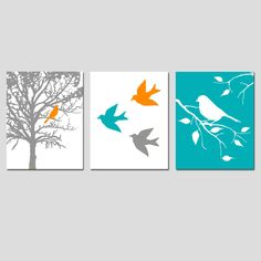 Modern Bird Trio - Set of Three 8x10 Prints - Nursery Art - Choose Your Colors - Shown in Orange, Gray, Teal, and More. $55.00, via Etsy.