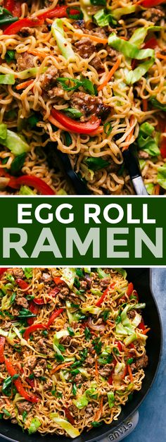Egg Roll Noodles 30 minute meal Chelsea s Messy Apron eggroll noodles ramen quick recipe 30 minutes easy kidfriendly pork turkey chicken cabbage carb Egg Roll Recipes, Pork Recipes, Easy Dinner Recipes, Asian Recipes, Healthy Recipes, 30 Min Meals, Easy Meals, Healthy 30 Minute Meals, 30 Minute Dinners