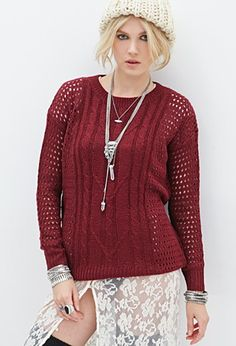 Open-Knit Fisherman Sweater | Forever 21 - 2000060247