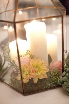 lanterns, flowers, candles, & succulents - how nice! I have silver lanterns you can rent for your ceremony that I can fill with succulents! Wedding Flower Decorations, Wedding Flower Arrangements, Flower Centerpieces, Reception Decorations, Table Centerpieces, Event Decor, Wedding Centerpieces, Floral Arrangements, Wedding Flowers