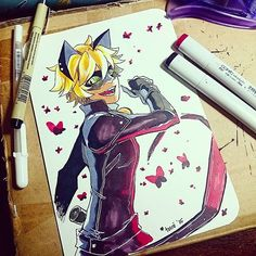 Miraculous Ladybug>> amazing drawing whoever drew this! Ladybug Y Cat Noir, Miraclous Ladybug, Ladybug Comics, Lady Bug, Chat Origami, Miraculous Ladybug Fan Art, Marinette And Adrien, Dibujos Cute, Animation