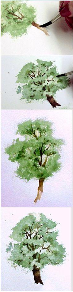 水彩画树示范教程2