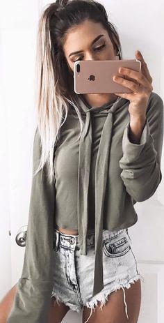 #winter #fashion /  Army Cropped Knit + Bleached Denim Short