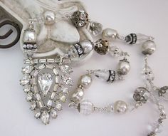 SOLD Art Deco Vintage Rhinestone Pearl Crystal One of a Kind Upcycled Necklace by JryenDesigns.etsy.com