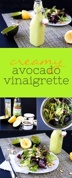 Vegan Creamy Avocado Vinaigrette: This creamy avocado vinaigrette is healthy, delicious, and ready in less than five minutes. It's one of my absolute favorites!! Click through for the recipe... Back To Her Roots