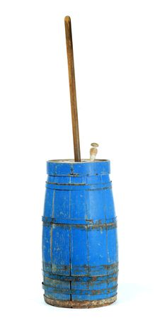 "AMERICAN PAINTED CHURN.  Second half-19th century. Stave constructed wooden churn with original blue paint. Loose bands. Imperfections. 23""h."