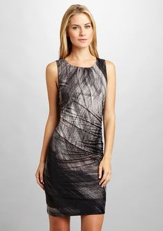 Nine West Shaded Plaid Shirred Dress - Ideeli
