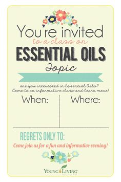 4x6 Young Living class invitation INSTANT DOWNLOAD printable invite people to your Young Living class with style!