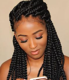 Hairspiration Braids On Point And Melanin Poppin Bkmsang Spotted By Narahairbraiding Voiceofhair Braided Updo