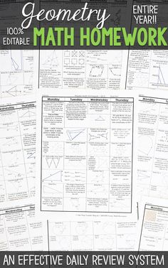 Geometry homework or warm ups that provide a daily review for Geometry math standards. This Geometry spiral math review resource is fully EDITABLE and comes with answer keys and a pacing guide.