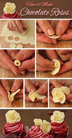 Cupcakes How to make Chocolate Roses. This would be perfect for almost any special occasion.How to make Chocolate Roses. This would be perfect for almost any special occasion. Decoration Patisserie, Bakery Decor, How To Make Chocolate, White Chocolate, Chocolate Diy, Chocolate Flowers, Chocolate Plastic Recipe, Molding Chocolate, Belgian Chocolate