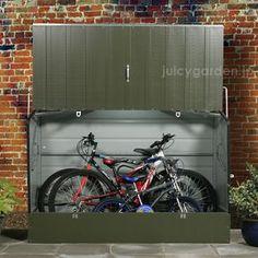 クロスバイクやロードバイクなどの自転車置き場として大活躍の収納庫!3台可能。鍵ロック可能。普通に物置としてのご使用もOKです。