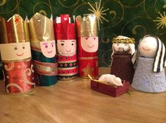 We made wise men to go with the Mary & Joseph we made in our group two weeks ago. Real easy with toilet rolls,shiny paper and some ribbon.