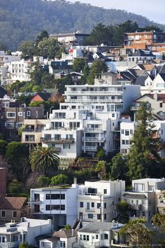 The Castro, elevated neighborhood street view from Corona Heights Park...
