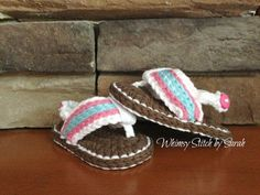 Crochet Baby Girl Flip Flop Sandals Made to by Whimsystitchbysarah, $18.00