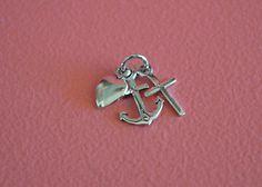 925 Sterling Silver Anchor, Heart, Cross Pendant Charm