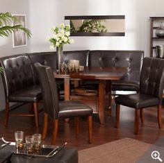 6 Kitchen Dining Room Set Leather Wood Corner Breakfast Nook Table Bench Chair