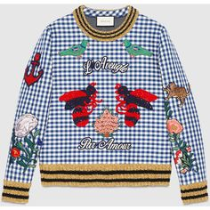 Gucci Check jersey embroidered sweatshirt (10.920 BRL) ❤ liked on Polyvore featuring tops, hoodies, sweatshirts, blue top, gucci sweatshirt, gucci tops, embroidered jerseys y gucci