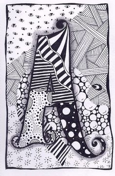 Zentangle O carta Zebra Letras nombre empavesado por ForeverTangles