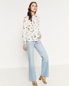 Image 1 of PRINTED POPLIN SHIRT from Zara