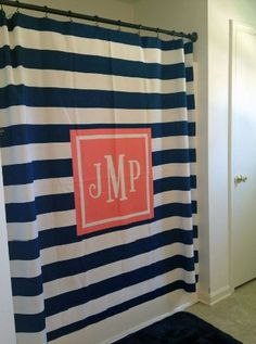 Monogrammed Shower Curtain...why not?!