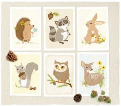 Woodland Forest Critter Print Set by SeaUrchinStudio on Etsy, $50.00