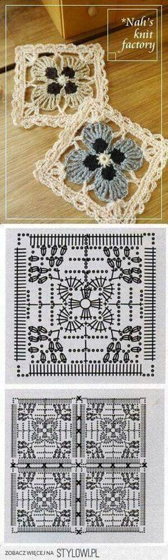 Lace Crochet Square with 4 Petal Flower ⋆ Crochet Kingdom