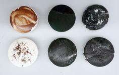 Experimental design project. Pigment and lava on porcelain.