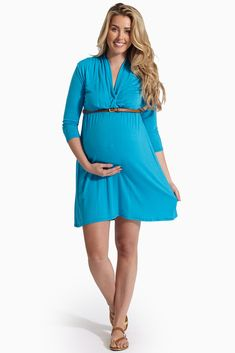Aqua-3/4-Sleeve-Belted-Maternity/Nursing-Dress #nursingdress #beltedmaternitydress  #cutematernityclothes