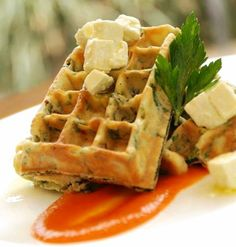Can't decide between breakfast and lunch? @Mandy Dewey Seasons Hotel Mumbai's spinach and feta waffle is a delicious compromise.