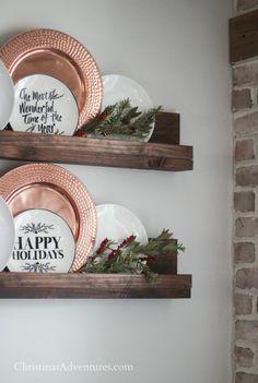 Wall Ledge, Ledge Shelf, Plate Display, Wood Display, Display Shelves, Plate Wall Decor, Plates On Wall, Christmas Plates, Christmas Decorations