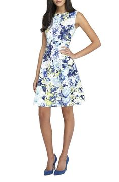 Tahari Floral Scuba Fit & Flare Dress available at #Nordstrom