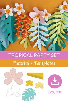 Leaf Template, Flower Template, Paper Flowers Craft, Flower Crafts, Tropical Party Decorations, Paper Party Decorations, Party Set, Quilled Paper Art, Paper Flower Tutorial