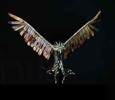 Mild-Steel #sculpture by #sculptor Georgie Poulariani titled: 'After Prey (Metal Eagles in Flight sculptures)'. #GeorgiePoulariani