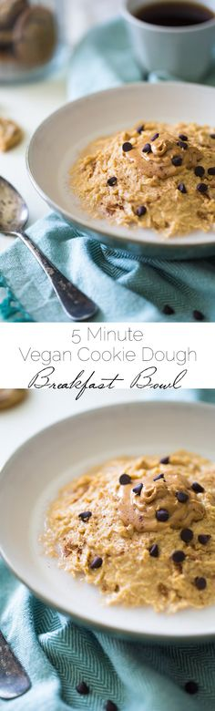 Vegan Cookie Dough Breakfast Bowls - Made with chickpeas, peanut butter, chocolate chips and almond milk so you can have healthy cookie dough for breakfast! Easy + make ahead! | Foodfaithfitness.com | @FoodFaithFit