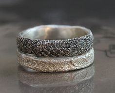 oooh! silver lace stacking rings