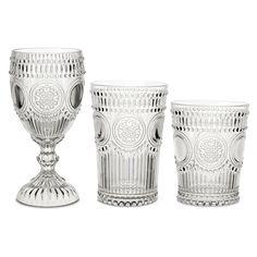 Baci Milano Clear Arabesque 18 PC Glassware Assortment