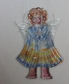 Fused glass Curly Red Hair ANGEL LADY Suncatcher Christmas by etnoart on Etsy, $45.00