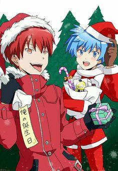 Karma and Nagisa - Christmas Anime Meme, Anime Guys, Manga Anime, Karma Kun, Nagisa And Karma, Sweet Pictures, Chibi, Koro Sensei, Nagisa Shiota