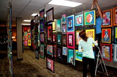 Art show: Each piece is matted with a layer of fadeless paper and 6 ply 22x28 colored tagboard (school specialty sells multicolored packs). The mattes are strung together using twine and a hole punch.  Art with Mrs. Seitz
