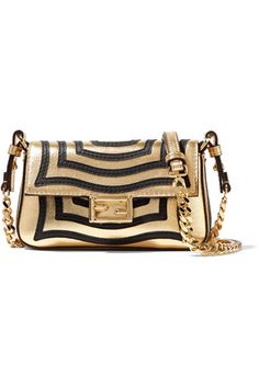 Fendi - Baguette micro appliquéd metallic textured-leather shoulder bag 14d4d86727dc1