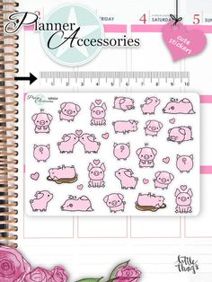 Sticker - Kawaii Schwein Sticker Kawaii Pigs Sticker NR664 - ein Designerstück von PlannerAccessories bei DaWanda