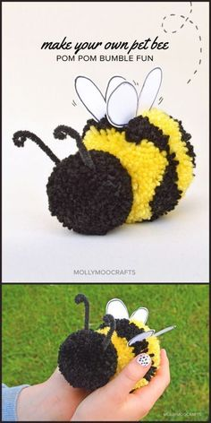 Cute Pom Pom Craft How to make a pom pom bee diy bee Hada Googlom The post Cute Pom Pom Craft How to make a pom pom bee appeared first on Yarn ideas. Hobbies And Crafts, Kids Crafts, Craft Projects, Arts And Crafts, Preschool Crafts, Easy Crafts, Kids Diy, Craft Ideas, Pom Pom Animals