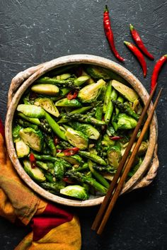 // Chili & Garlic Stir-Fried Brussels Sprouts with Asparagus