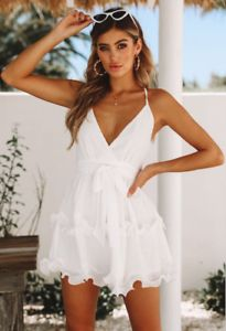 e69f9ec418 Women Summer Backless Short White Evening Cocktail Party Beach Dresses  Sundress White Graduation Dresses