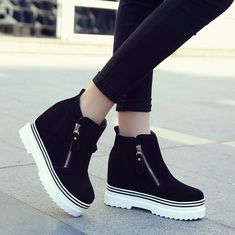 Fashion Increased Thick Bottom Wedge Ankle Boots sold by Shoes Party on Storenvy Boots For Short Women, Short Boots, Boots Women, Fancy Shoes, Cute Shoes, Yellow Boots, Black Boots, Fashion Boots, Sneakers Fashion