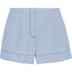 3.1 Phillip Lim Bonded-chambray shorts (£90) ❤ liked on Polyvore featuring shorts, bottoms, pants, short, light blue, chambray shorts, 3.1 phillip lim shorts, light blue shorts, loose fit shorts and mid rise shorts