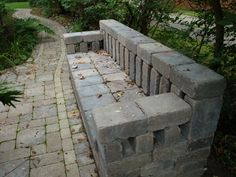 SBG pin of the day!   Those cheap tumbled pavers can easily be made into this super bench without footings or mortar.